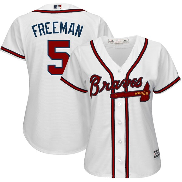 60e04816a82 Women s Atlanta Braves Freddie Freeman Majestic White Home Cool Base Player  Jersey
